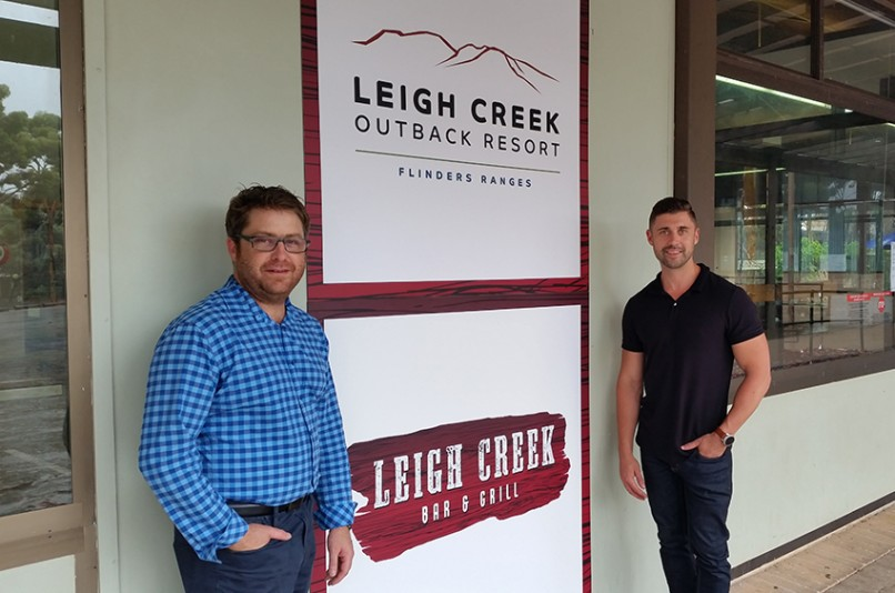 Brad Carter and Leigh Kentwell at reopening of Leigh Creek Tavern
